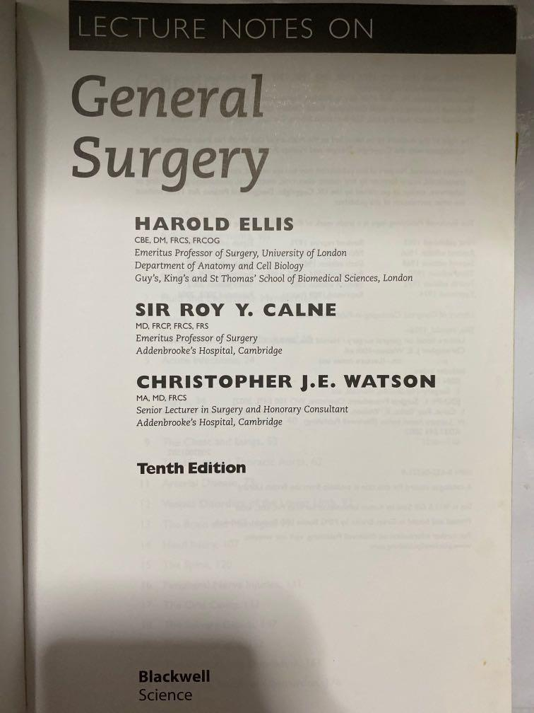 Lecture Notes On General Surgery By Harold Ellis Books Stationery Textbooks Tertiary On Carousell