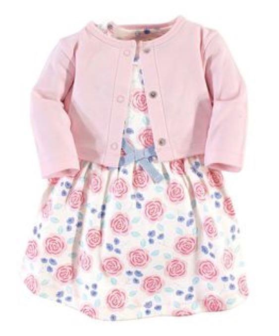 Nature 2T粉紅玫瑰有機棉兩件組洋裝