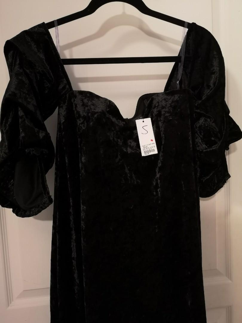 New velvet black off shoulder butterfly sleeves dress