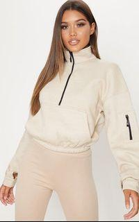 prettylittlething cropped nude sweater
