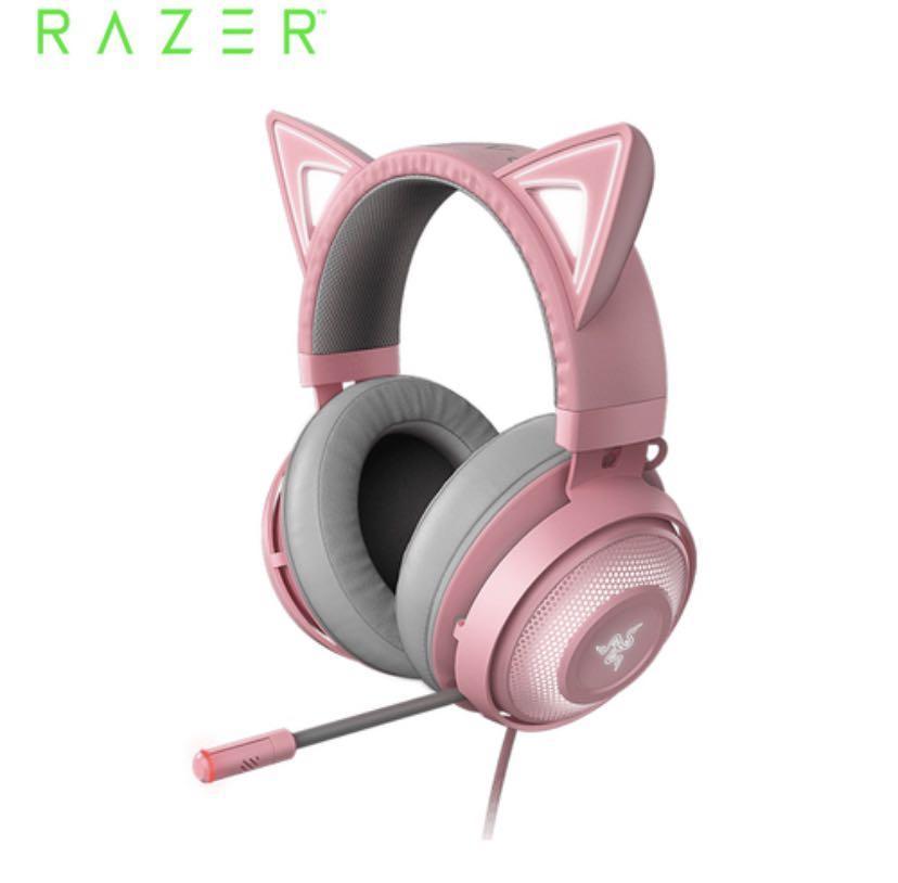 Razer 雷蛇 Kraken Kitty Quartz  北海巨妖 粉晶發光貓耳 電競耳機麥克風