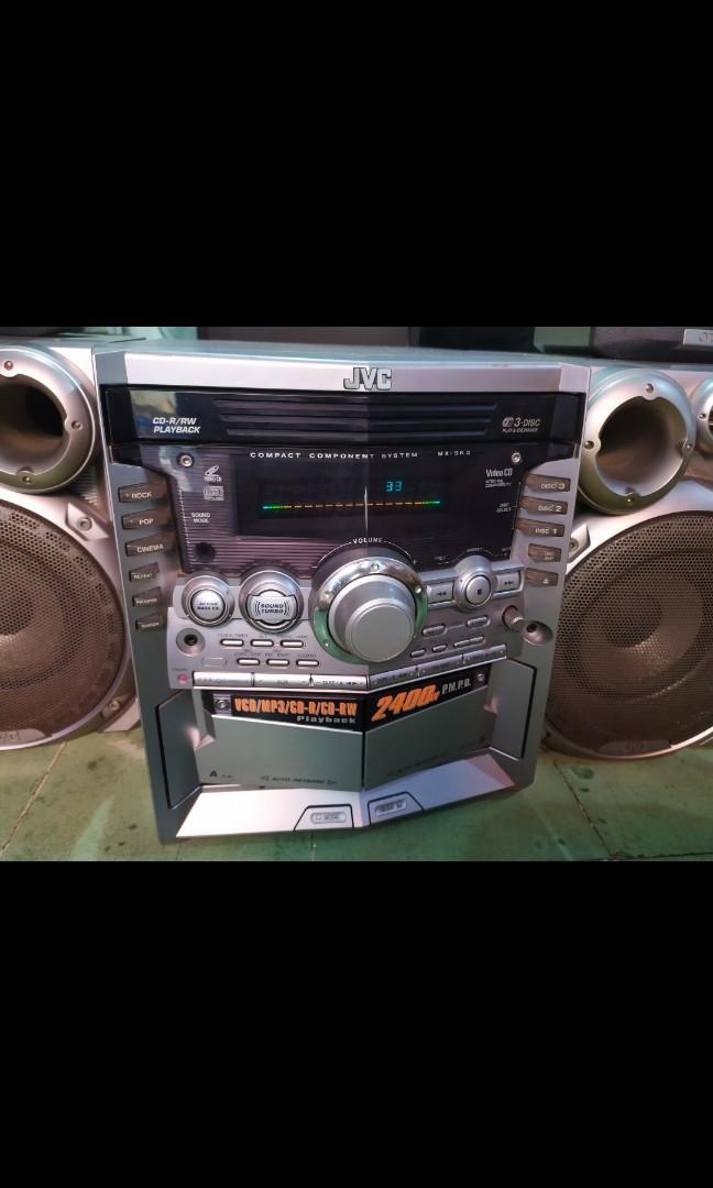 TAPE JVC SP XSk3, 2 SPEAKER 2 SOUROND KONDISI TERAWAT PERLU PERBAIKAN SEDIKIT HOME SOUND AUX FM 3CD TAPE