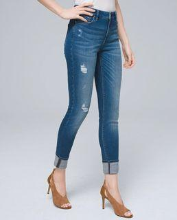 WHBM Mid-Rise Destructed Skinny Ankle Jeans, Size 00