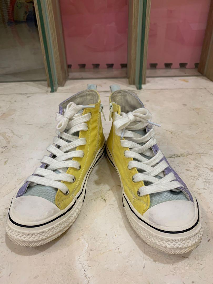 紫黃大童帆布鞋