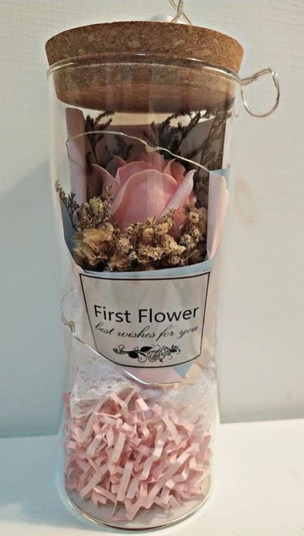 自售乾燥花瓶粉紅玫瑰(附氣氛燈束) 情人節禮物 婚禮小物 二進 居家擺飾 乾燥花 玻璃罩 交換禮物 伴娘禮物 生日禮物