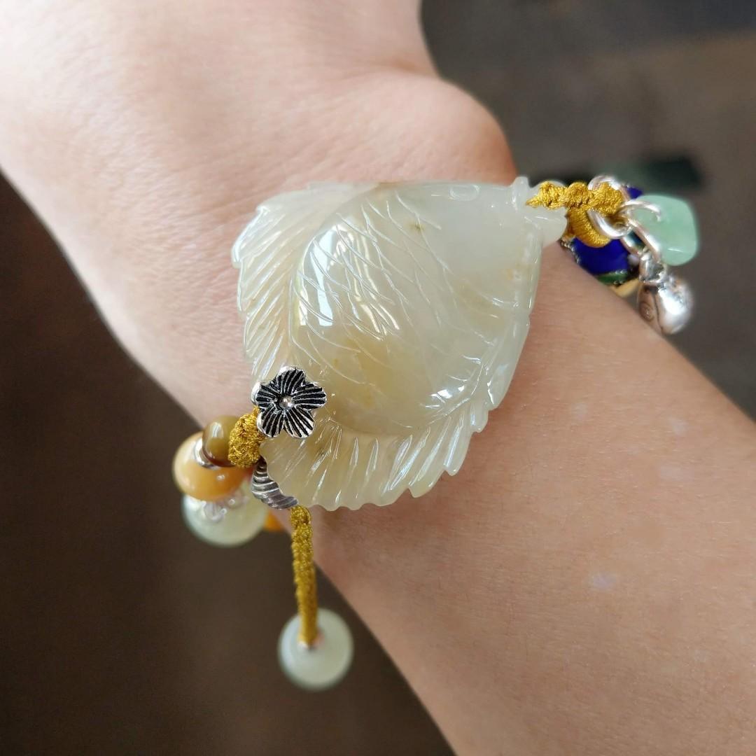 天然緬甸玉A貨 蜜黃年年有魚手鍊(0495) 手作設計,款式獨特