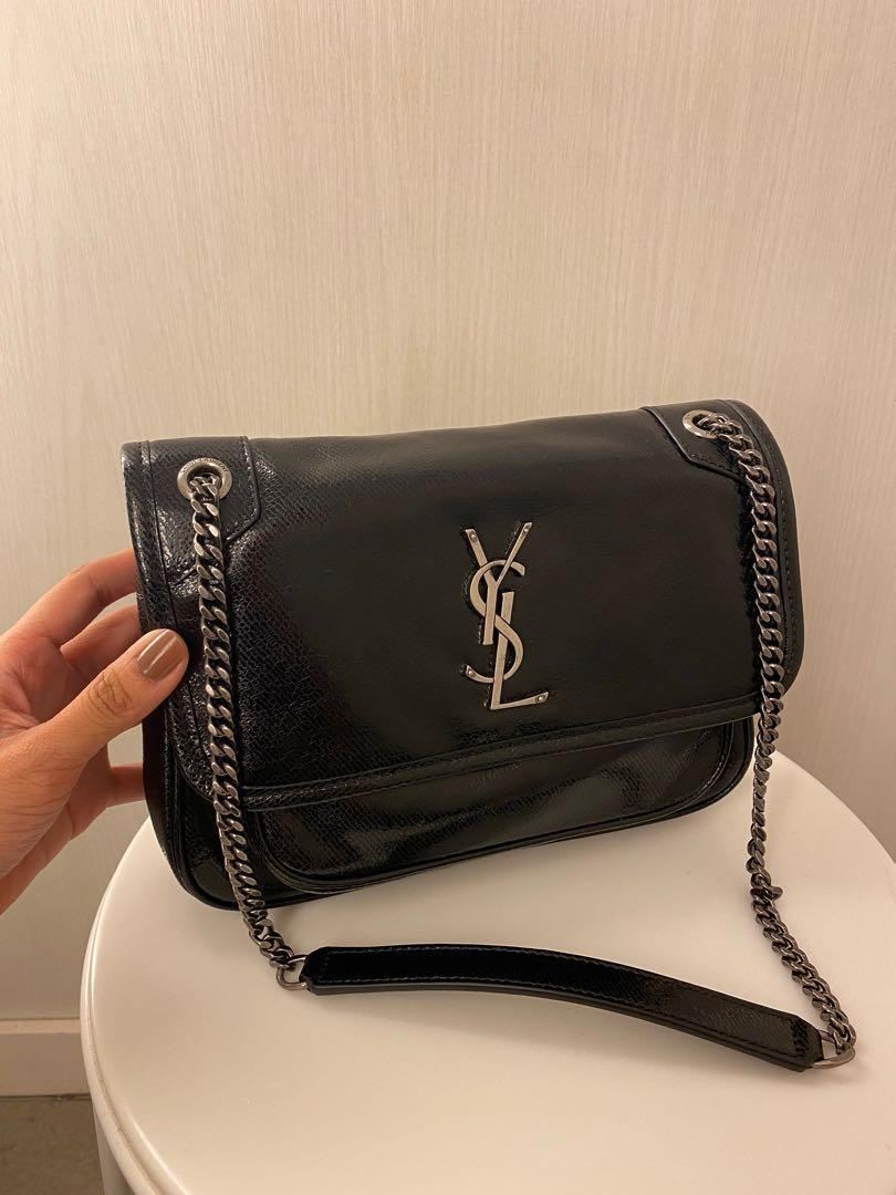 Authentic YSL Saint Laurent Niki baby in metallic black limited edition