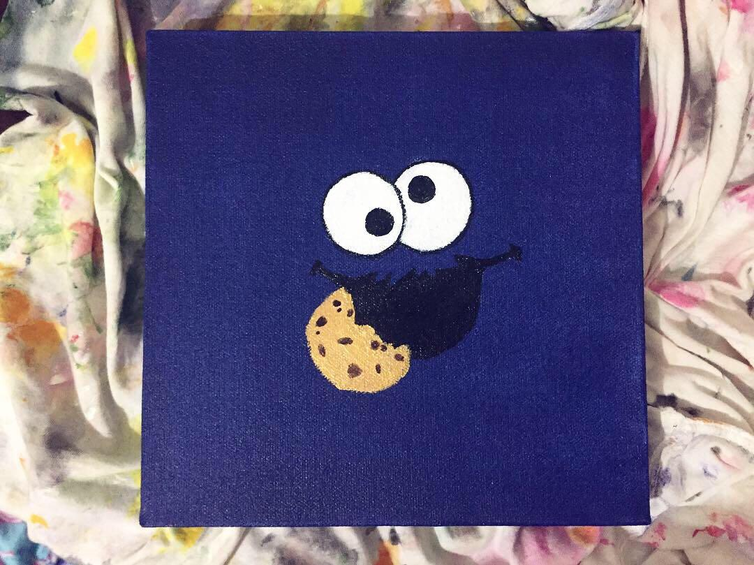 Cookie Monster Acrylic Painting