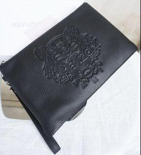 Kenzo Tiger Embroidery Leather Clutch