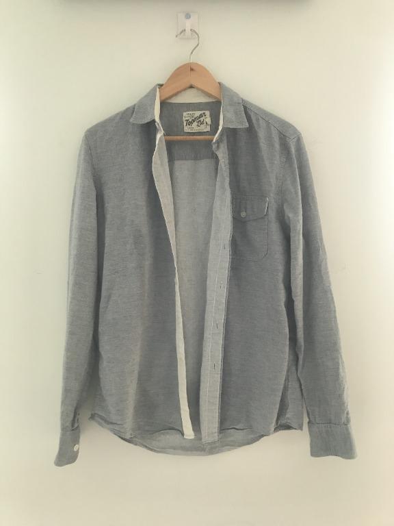 Topman Blue Casual Button Down Shirt Size Medium