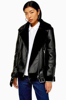 Topshop Shearling Leather Jacket