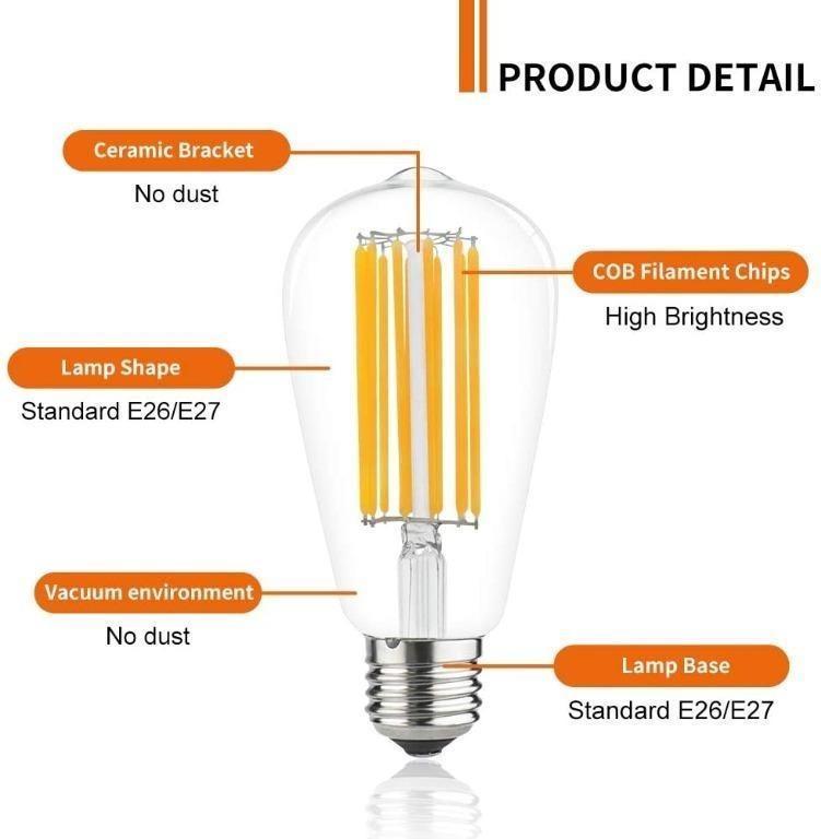 7270 12w St58 E27 Led Filament Bulb Warm White 4000k Es Edison Screw Led Vintage Light