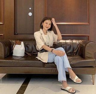 92pleats 漢南洞花店 double linem half jacket 棉麻短袖西外(二手 24小時內寄出)