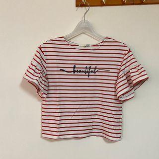 國外購入棉質條紋繡字上衣