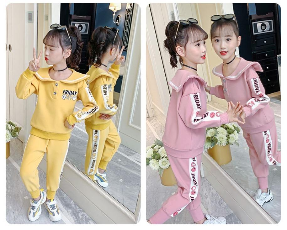 中大童韓版新款加厚圖案印花休閒套裝