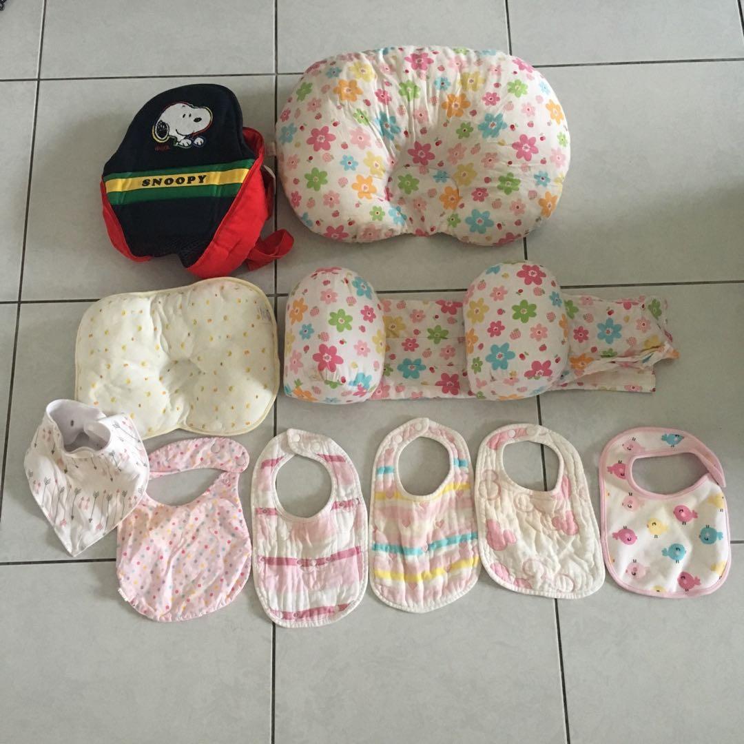 二手 嬰兒用品合售 揹巾 防側翻枕 嬰兒枕 圍兜
