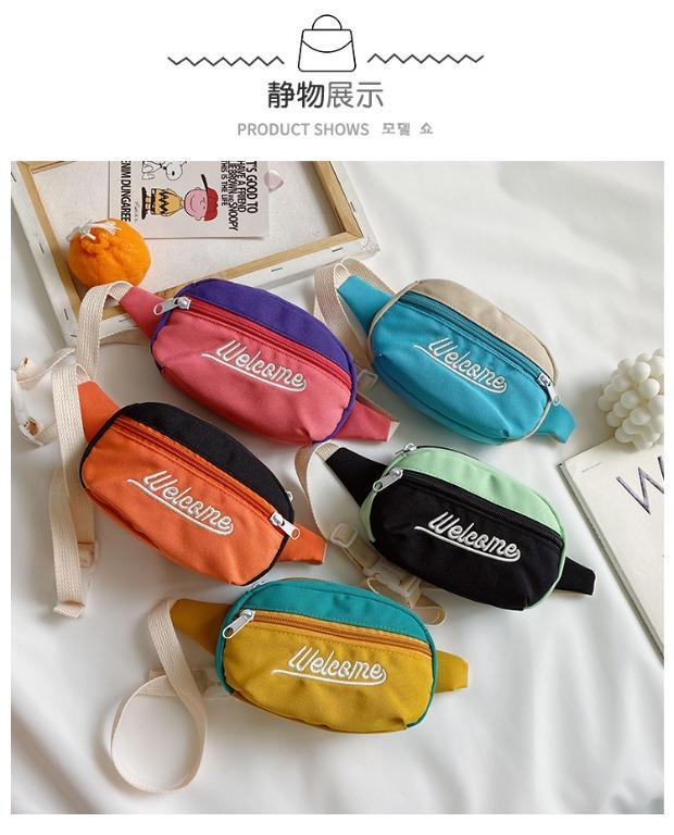 寶寶斜背包 潮 斜背包包 小包包 小童斜背包 撞色迷你包包 售粉紫配色