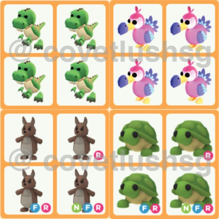 Adopt Me Legendary Nfr Neon Fly Ride Pets T Rex Dodo Kangaroo Turtle Toys Games Video Gaming In Game Products On Carousell