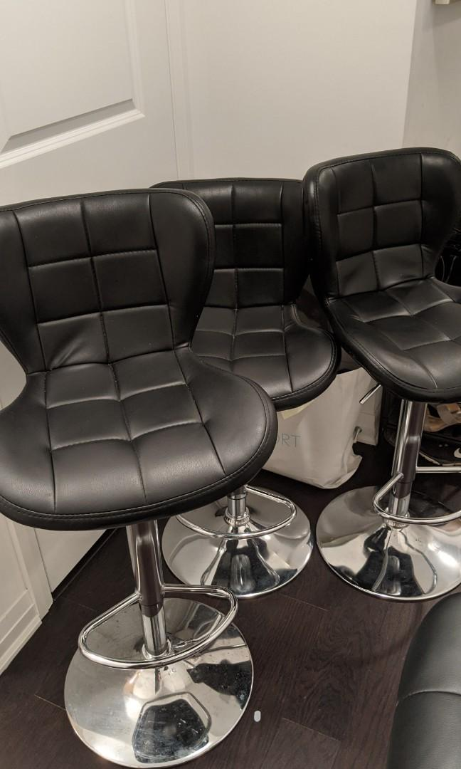 Black counter/bar chairs, adjustable height & 360° swivel