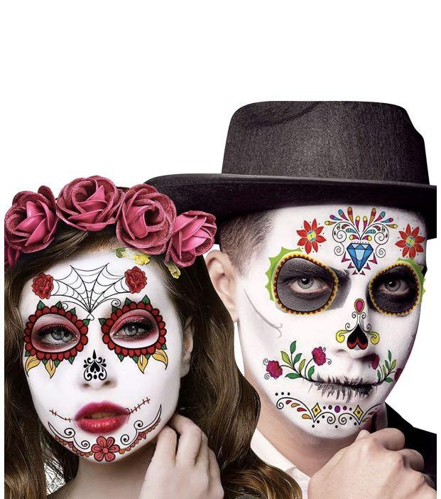 Brand new Day of the Dead Face Tattoos, 12 Sheets Halloween Sugar Skull Temporary Costume Makeup
