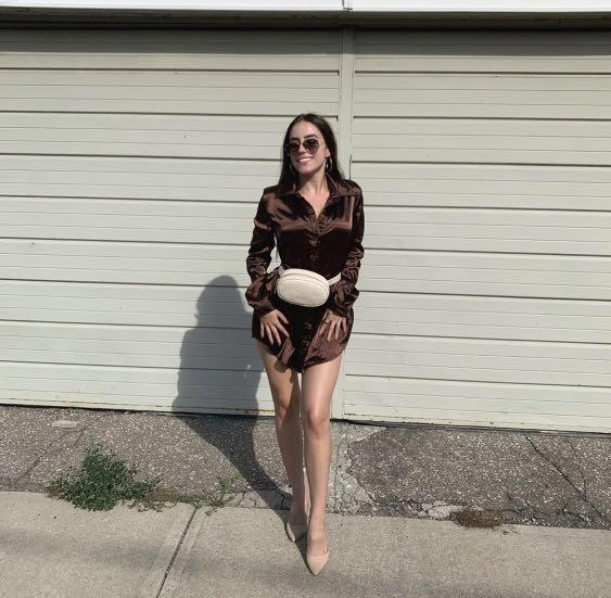 Brown silky button up top