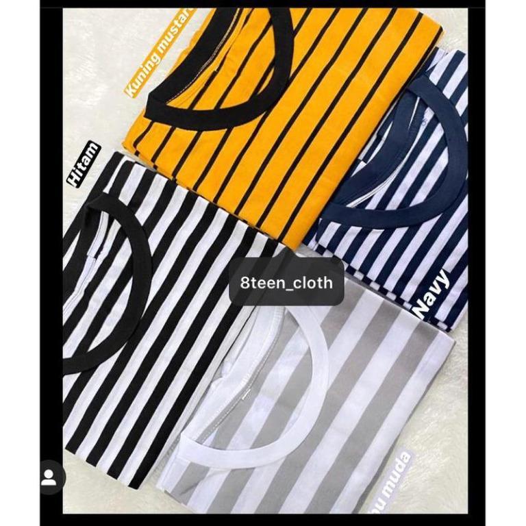 Kaos Stripe Tee T-shirt Salur Garis (lengan pendek)