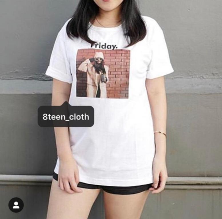 Kaos Wanita FRIDAY Warna Putih M L Bahan Cotton / T-shirt / Tumblr Tee Wanita Kekinian