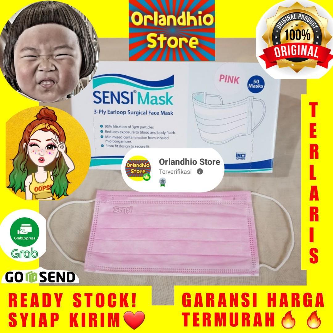 Masker Sensi 3ply Earloop 1 box isi 50pcs warna pink expired 2025
