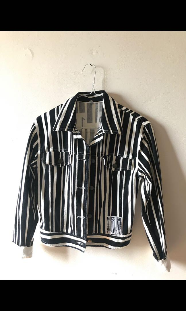 Moschino vintage 90s denim striped bar code jacket
