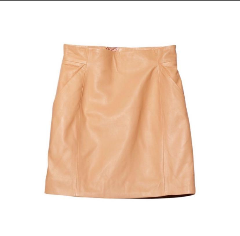 Peach 100% Lamb Leather Skirt (Size 6)