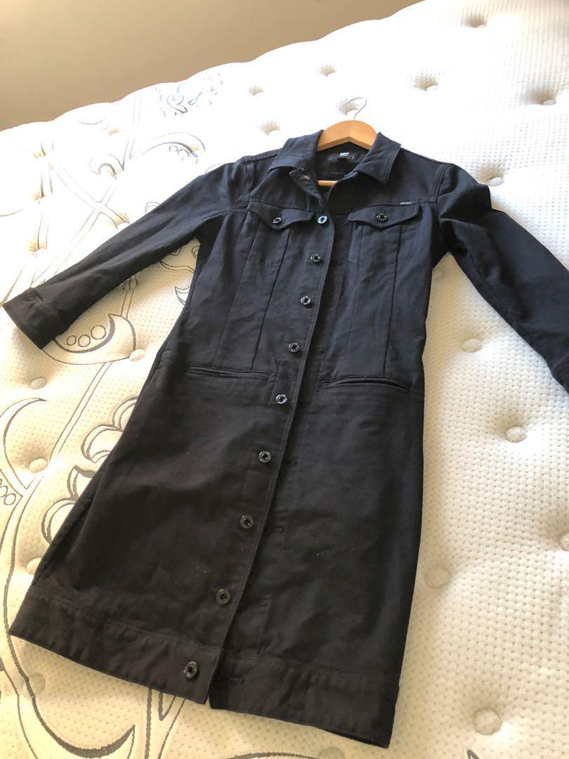 RAW black jean dress, size S