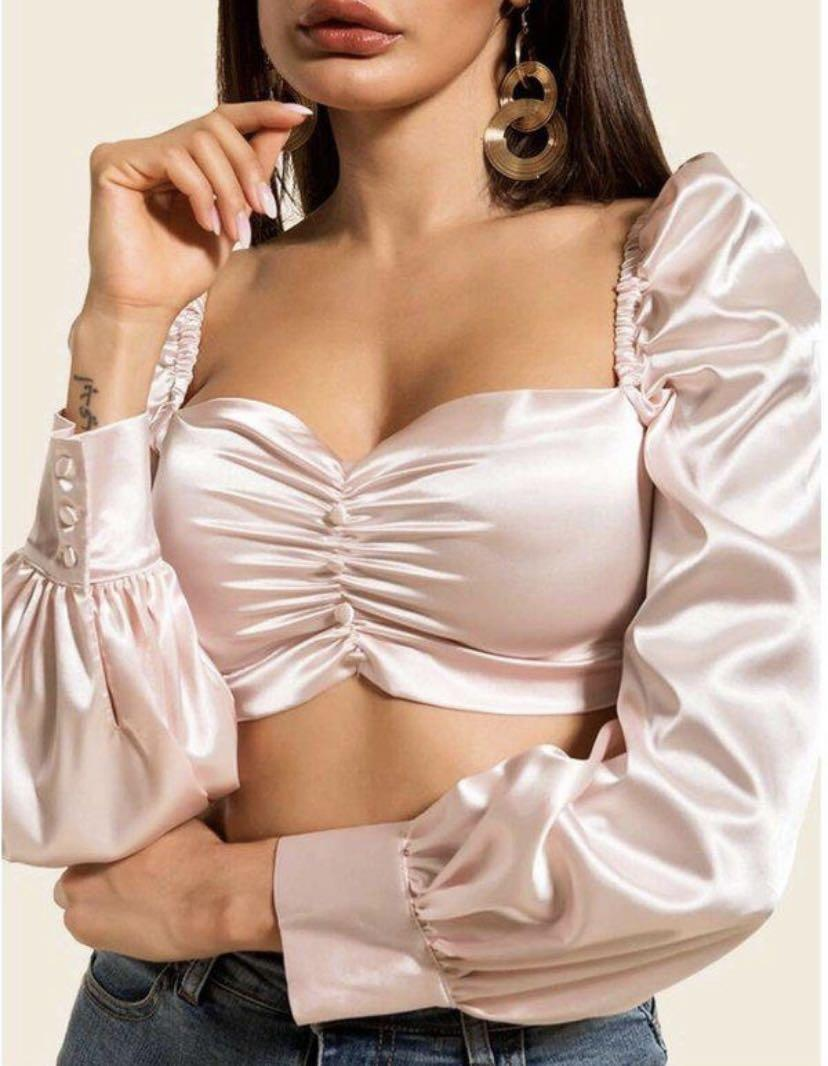 Satin Ruched Puff Sleeve Crop Top (S)