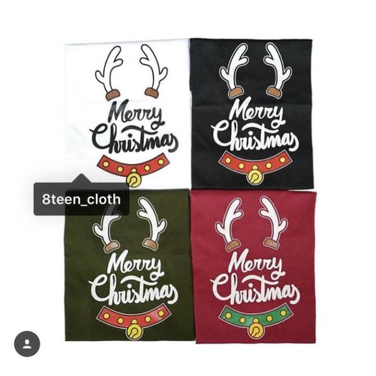T-shirt Kaos Anak Merry Christmas Tanduk Warna Bahan Cotton Baju Anak Natal