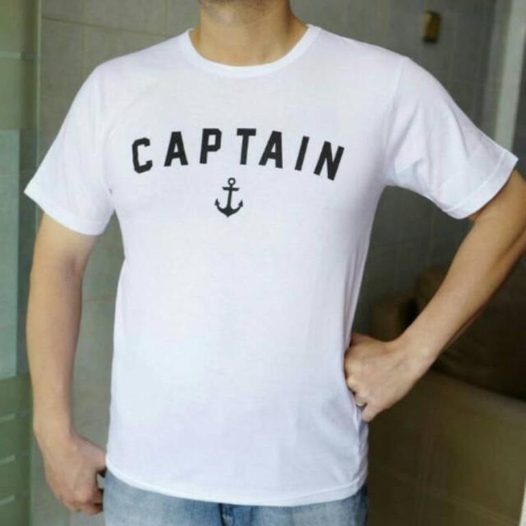 T-shirt/Kaos Pria CAPTAIN Warna Putih/Baju Cowo FASHION PRIA