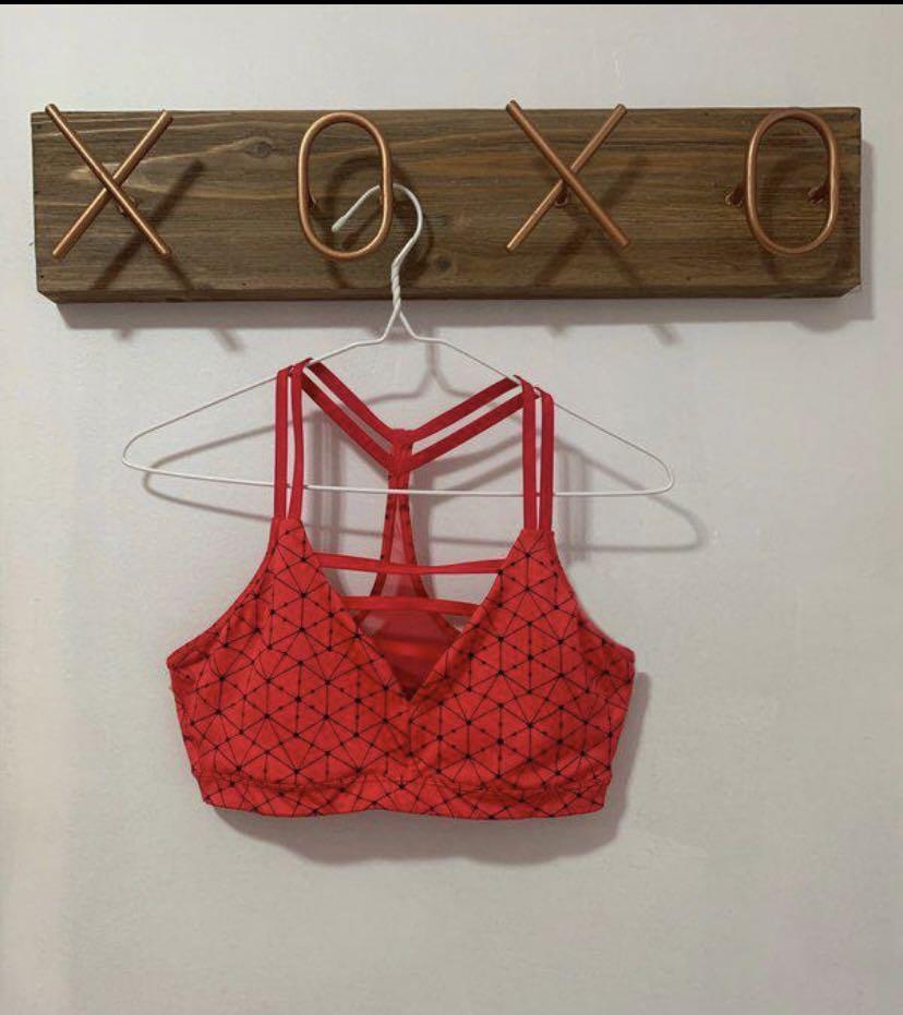 Victoria Secret Red Geometric Sports Bra (S)