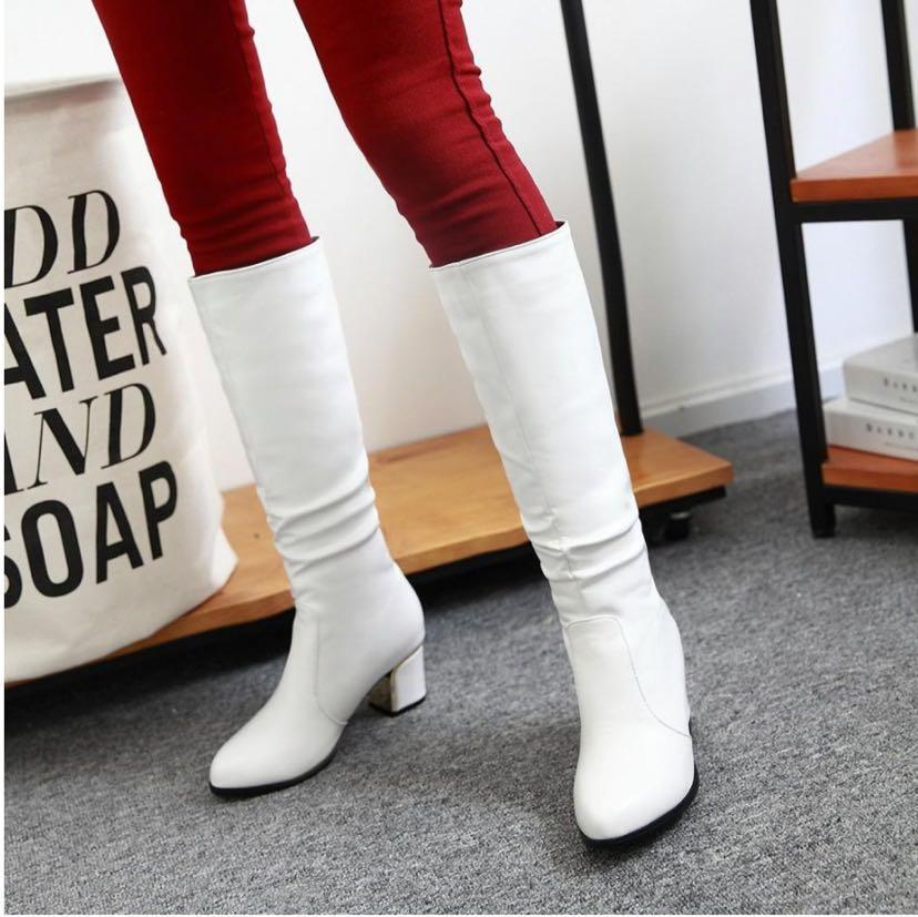 White Heeled Knee High Boots