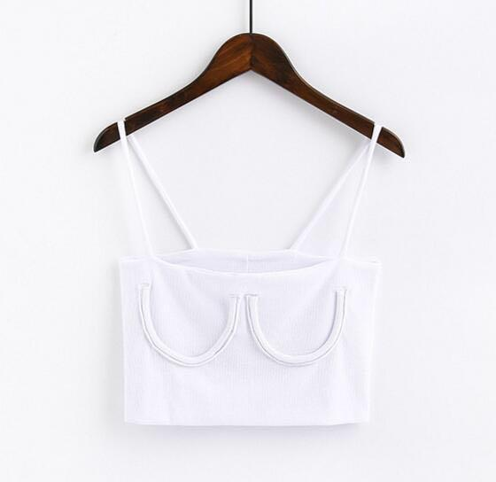 White Knitted Ribbed Cropped Tank Top