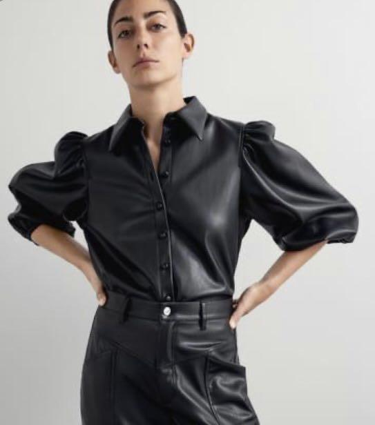 Zara leather blouse
