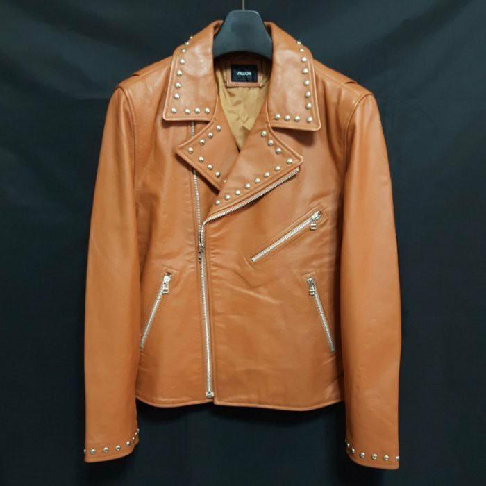 日本品牌ZILLION 頂級強軔硬漢厚牛皮鋪棉翻領鉚釘重機騎士皮衣 真皮