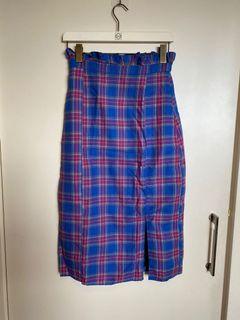 藍紅格紋窄裙