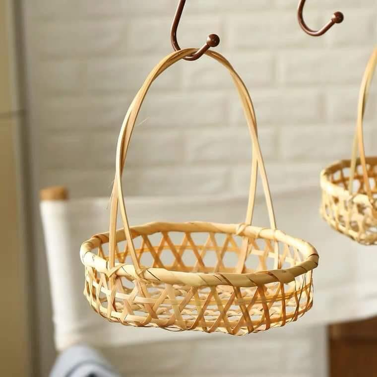 【白芷北歐雜貨🐦】🌻預購🌻天然竹編圓形高把手收納籃