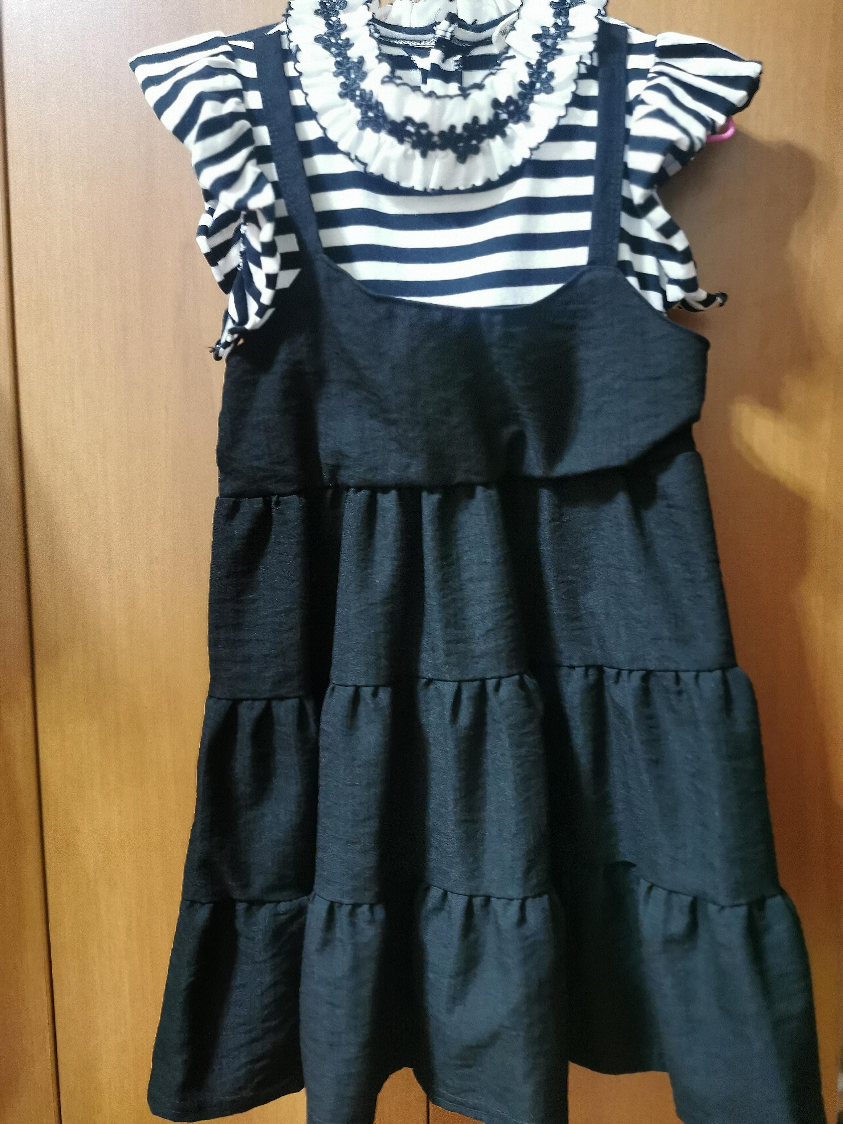 韓國 假2件橫條紋花邊滾領洋裝