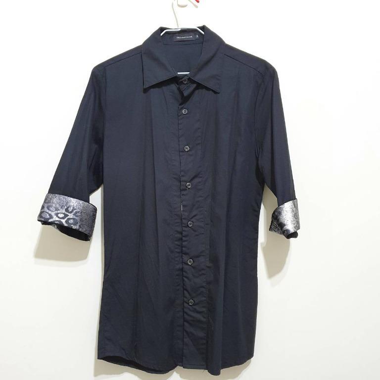 【出清】韓貨 七分袖襯衫 素面 黑色 Slim Fit M號 休閒襯衫