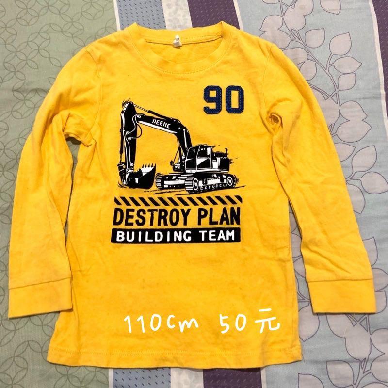 男童 工程車 T恤 薄長袖 110cm