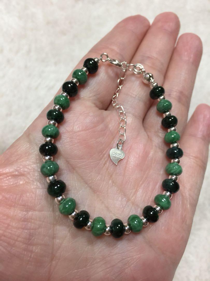 天然翡翠緬甸玉a貨雙色手鍊-豆綠+花青算盤珠銀手鍊、豆綠、花青、算盤珠、緬甸玉、翡翠