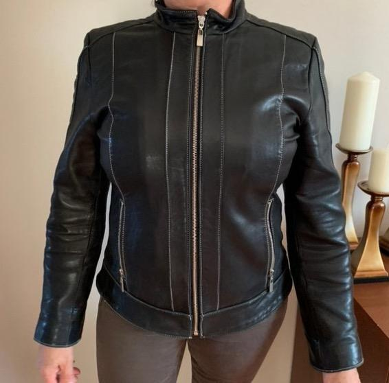 black zip up genuine leather jacket