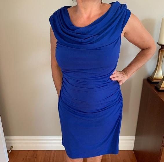 blue ruched off the shoulder dress