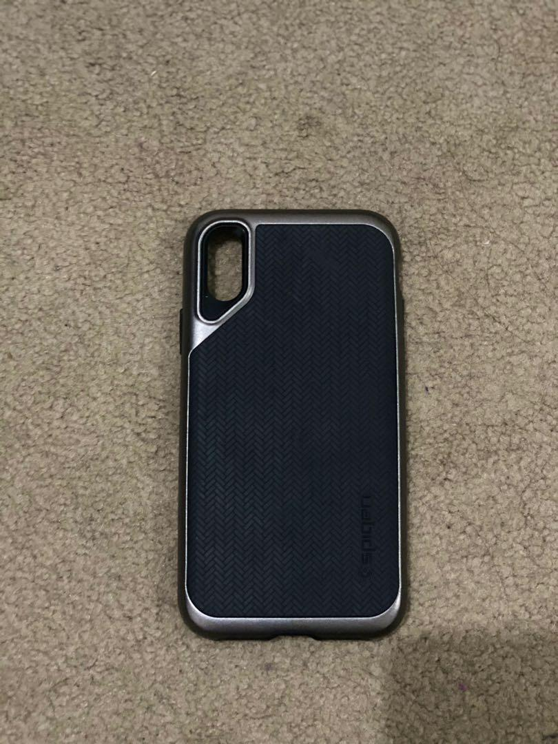 Case iPhone X / XS original Spigen GUN METAL