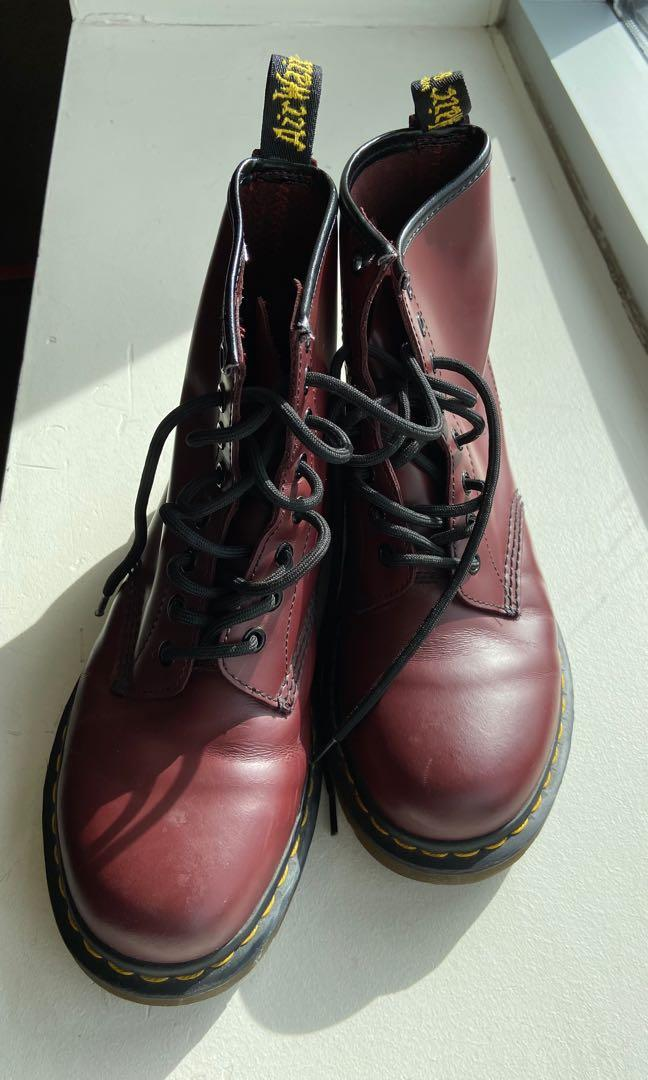 CHERRY RED DR MARTENS (SIZE 7)