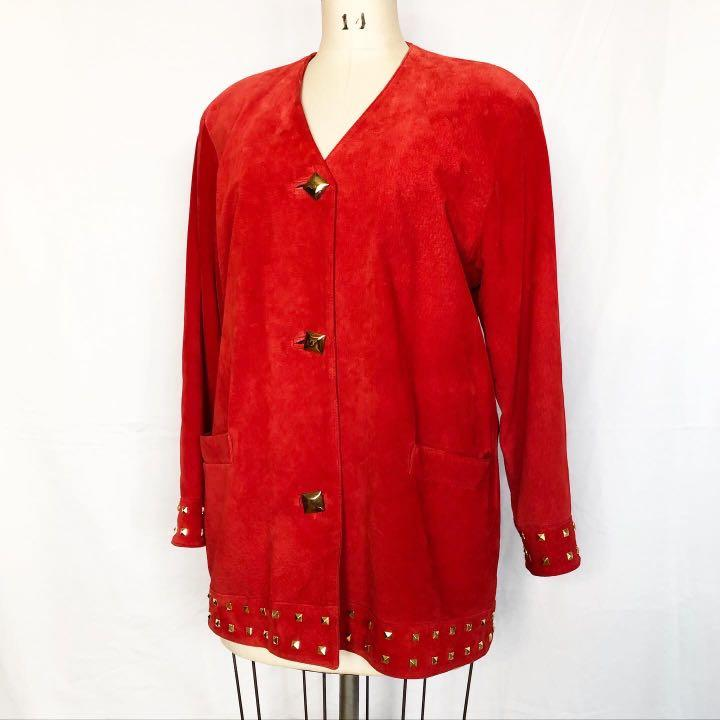 Danier Red Suede Studded Jacket